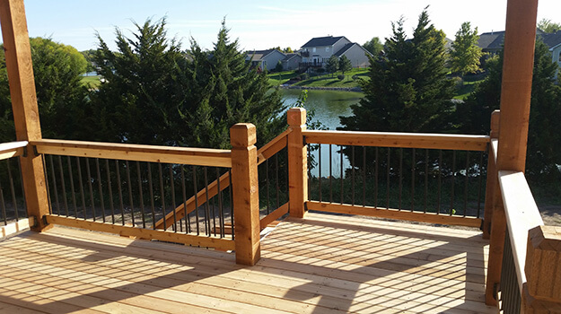 Sanded Cedar Deck View Over Lake